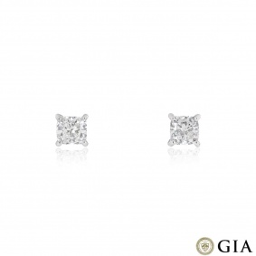White Gold Cushion Cut Diamond Earrings 3.23ct TDW